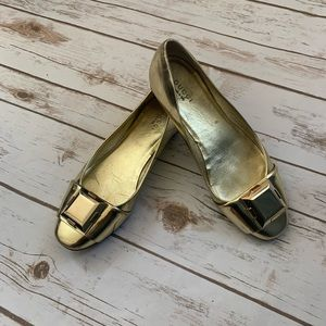 Gucci Metallic Leather Ballet Flats 36C